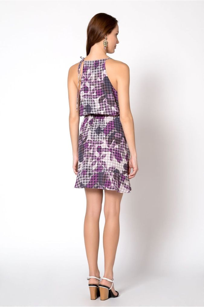 81cf618a6 Vestido Seda Estampado Floral Vichy - 01018393 - Sacada