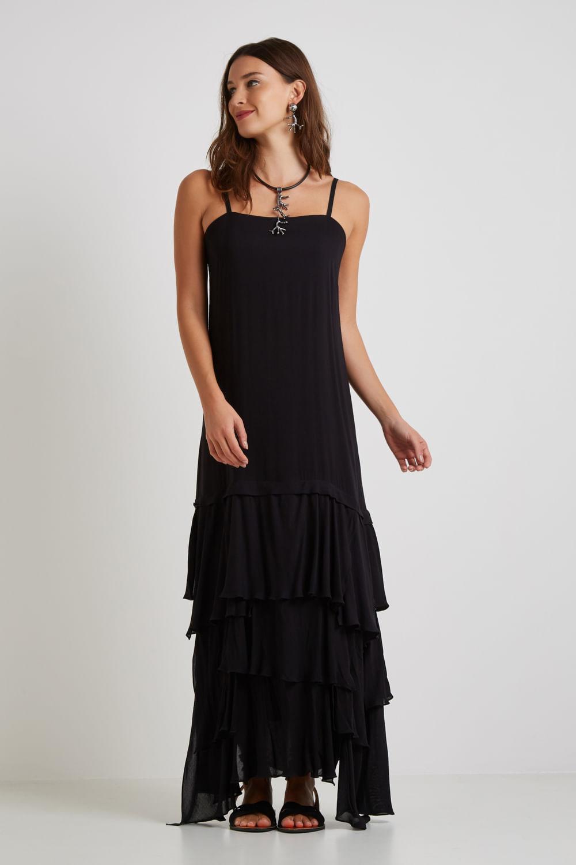 vestido longo babados preto