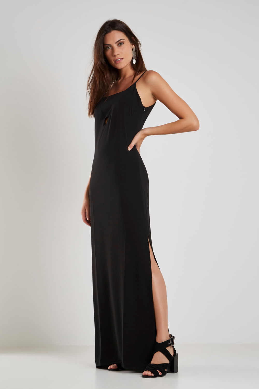Vestido Longo Faixa preto com fenda
