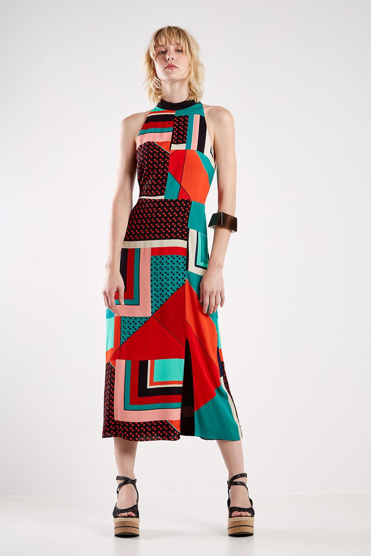 vestido lenço mix de estampas