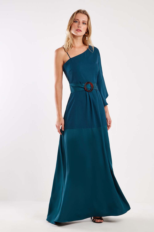 vestido longo ombro
