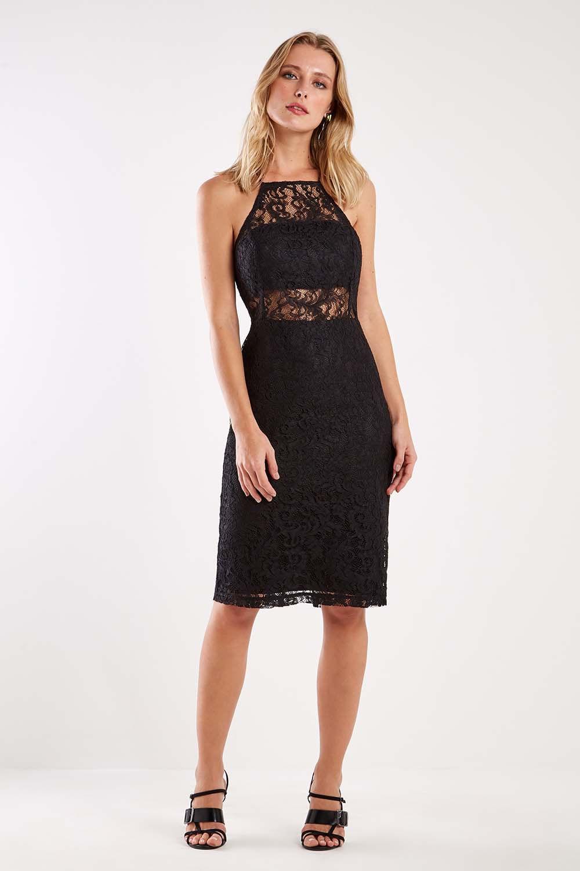 vestido preto curto de renda